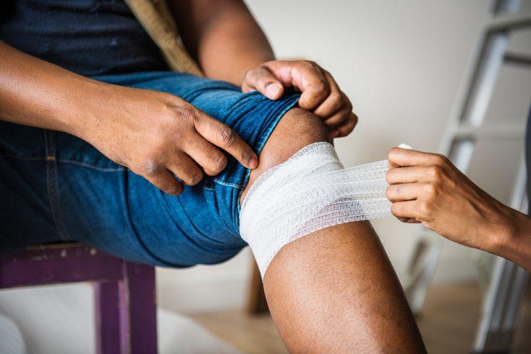 Bandage-behandlung-Bein
